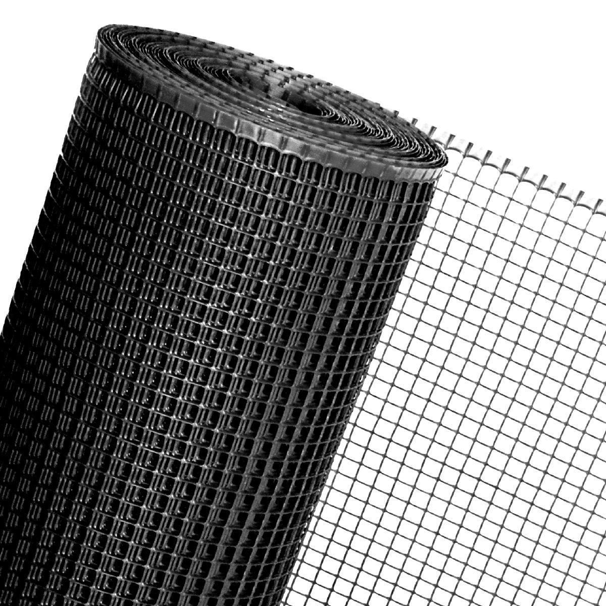 KUNSTSTOFFZAUN schwarz in 0,6m Höhe (Meterware) Quadratmaschen 15mm Geflügelzaun