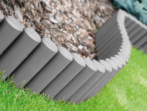 2,7m PALISADE Beetumrandung grau Einfassung Gartenweg Rasenkante