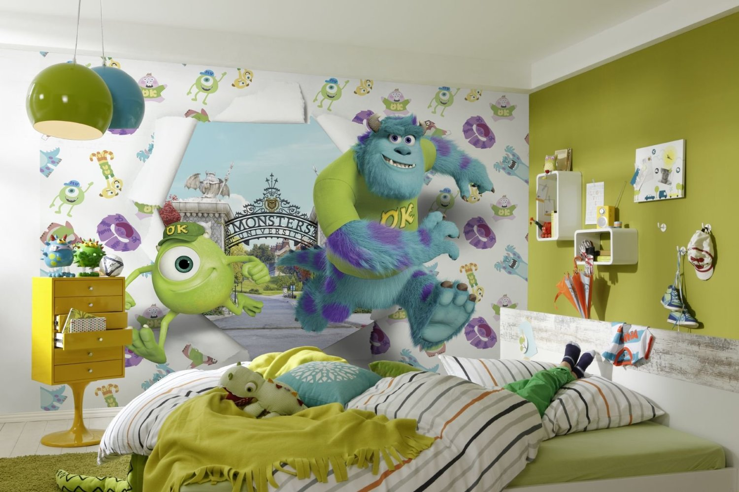 fototapete kinderzimmer kinder tapete photomural monsters university. Black Bedroom Furniture Sets. Home Design Ideas