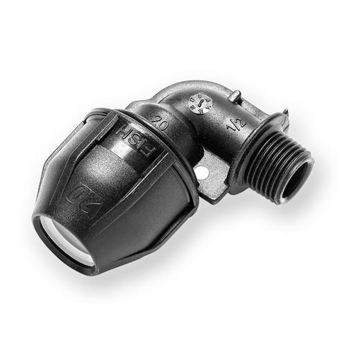 PE Winkel AG 20mm x 1/2 Zoll Druck 16bar zur Verbindung von PE-Rohren 20-H