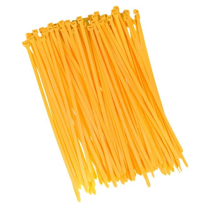 100 Stück Kabelbinder 200mmx2,5mm für Schattiernetz Zaunblende Zaun in gelb