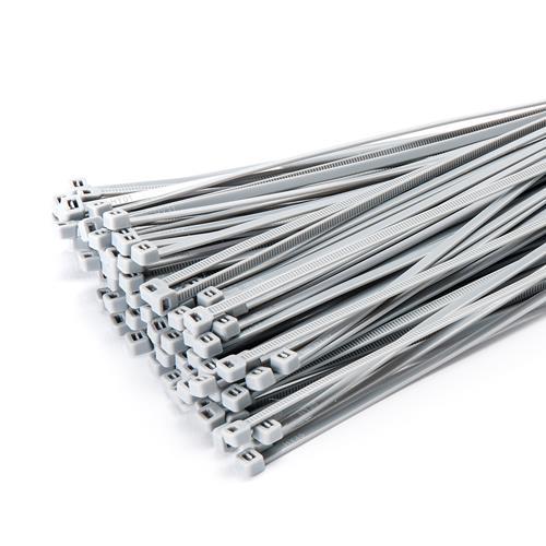 100 Stück Kabelbinder 300mmx3,6mm für Schattiernetz Zaunblende Zaun in silber