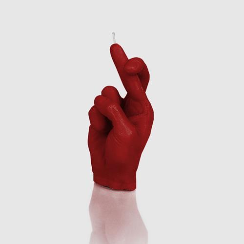 """Designerkerze """"Crossfinger"""" Kerze 21cm x 9cm als Geschenkidee in rot"""