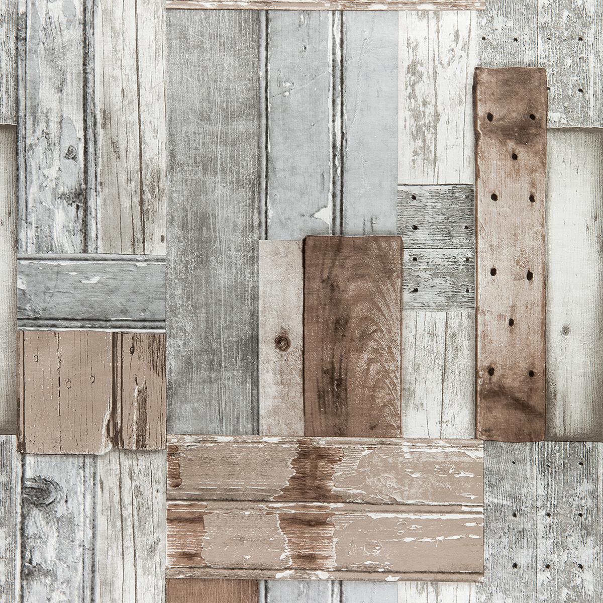 wachstuch in 1 4m br patchwood grau braun meterware tischdecke. Black Bedroom Furniture Sets. Home Design Ideas